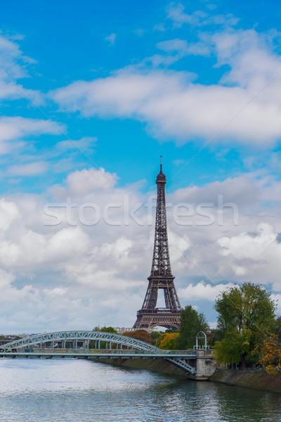 Eiffel turné folyó fa Párizs Franciaország Stock fotó © neirfy