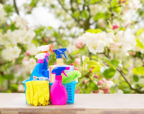 Pulizie di primavera colorato bottiglie tavolo in legno primavera fioritura Foto d'archivio © neirfy