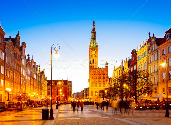 Long street at Old town of Gdansk Stock photo © neirfy