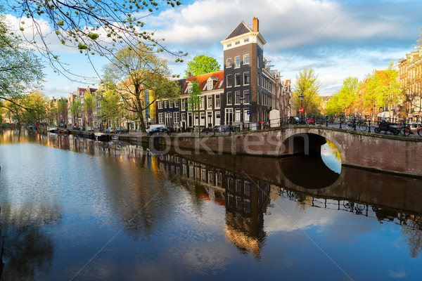 Maisons Pays-Bas ville paysages canal Photo stock © neirfy