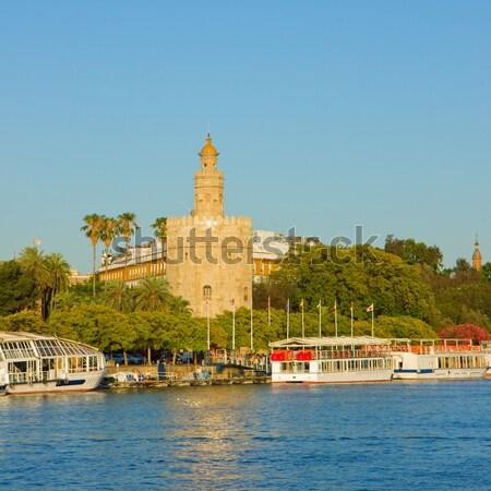 Stadtbild Spanien golden Turm Himmel Gebäude Stock foto © neirfy