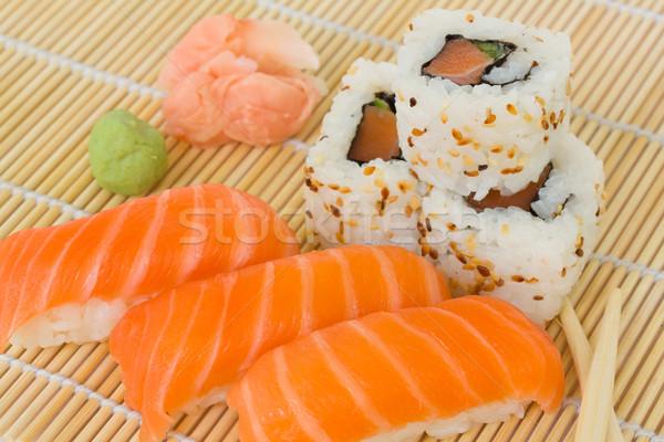 japaneese sushi and rolls dish Stock photo © neirfy