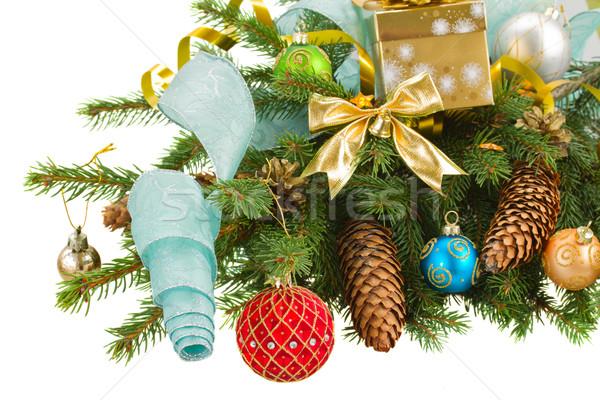 Evergreen Natale decorazioni verde rosso Foto d'archivio © neirfy