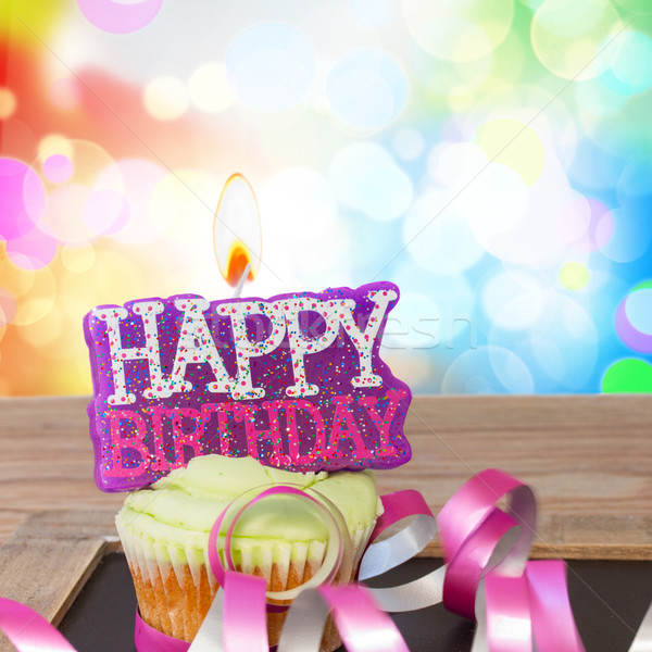 one birthday cupcake with happy birthday candle Stock photo © neirfy