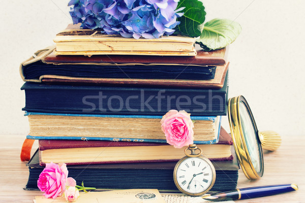 vintage  books and letters with flowers Stock photo © neirfy