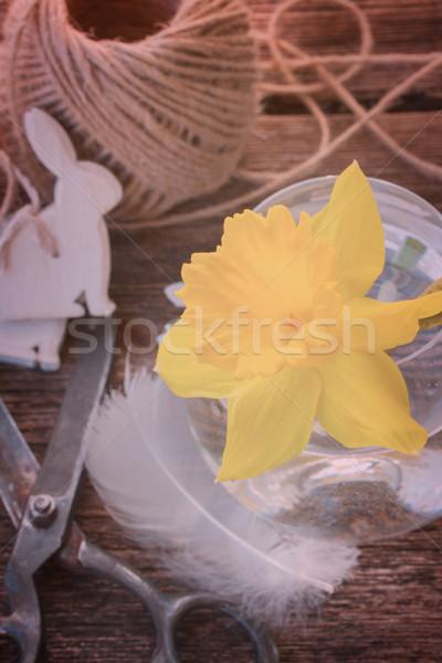 Páscoa abrótea retro amarelo decorações mesa de madeira Foto stock © neirfy
