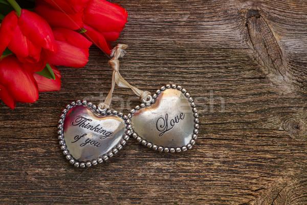 Amore cuori fiori coppia rosso Foto d'archivio © neirfy