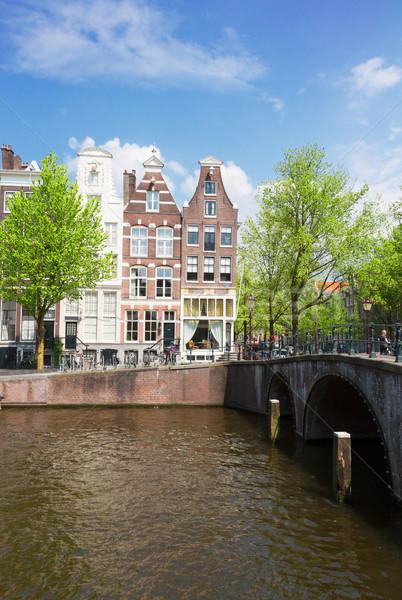 Strada Amsterdam Holland vecchio case città vecchia Foto d'archivio © neirfy