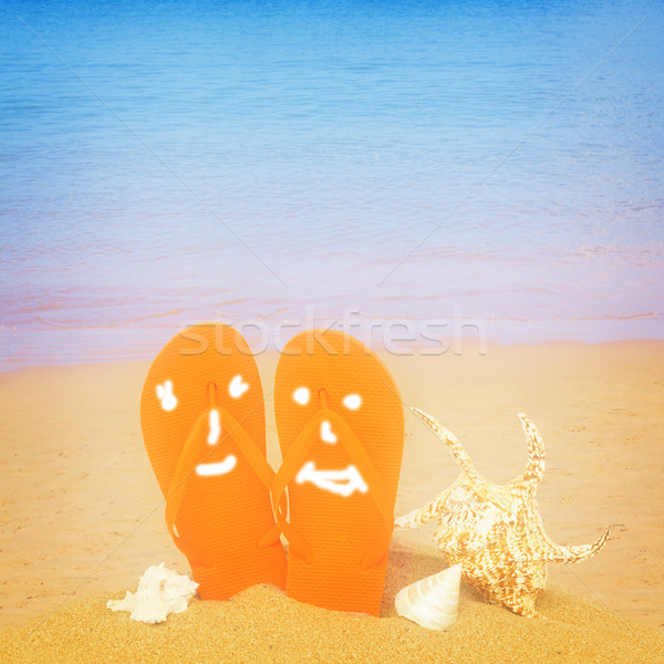 orange sandals and seashells in sand on beach Stock photo © neirfy