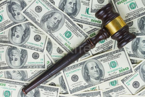 Recht hamer euro geld een houten Stockfoto © neirfy