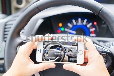 Stockfoto: Rijden · auto · telefoon · lege · scherm · exemplaar · ruimte