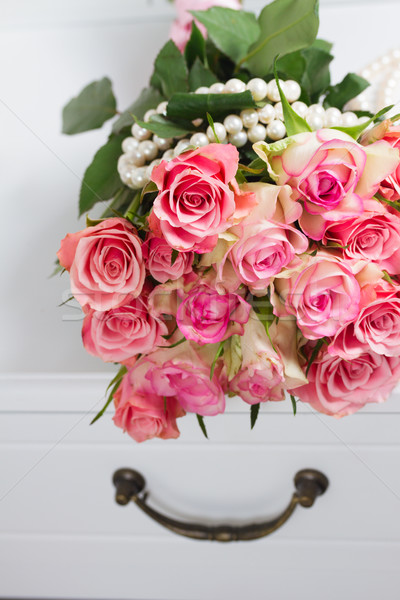 розовый роз древесины букет белый Сток-фото © neirfy