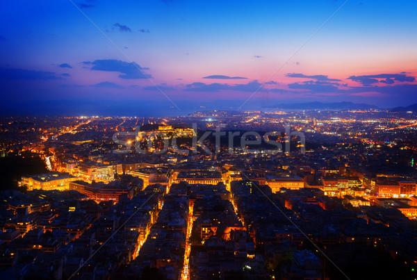 Paisaje urbano noche panorámica colina mar retro Foto stock © neirfy