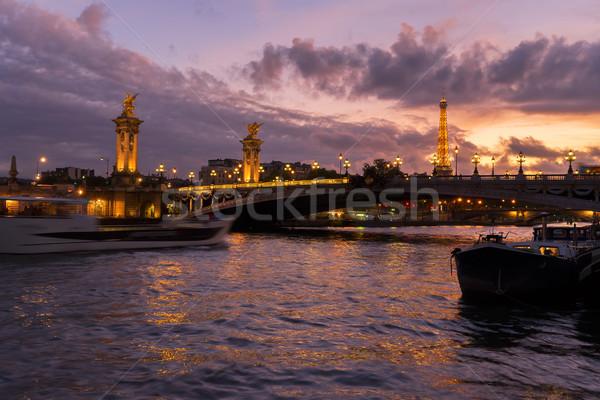 Stock fotó: Híd · Eiffel-torony · Párizs · folyó · ibolya · Franciaország