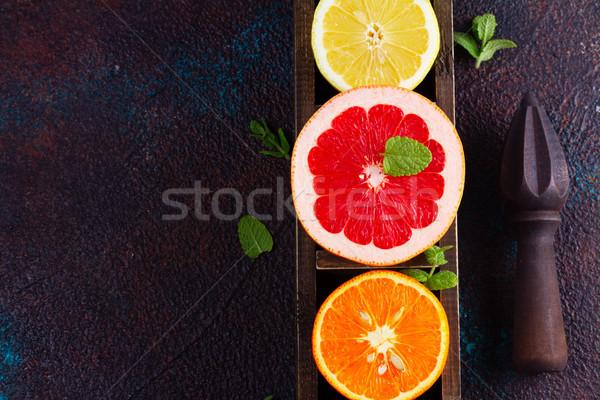 Orange, lemon and grapefruit Stock photo © neirfy