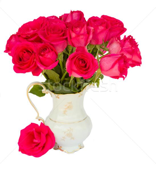 Leylak rengi taze güller vazo yalıtılmış beyaz Stok fotoğraf © neirfy