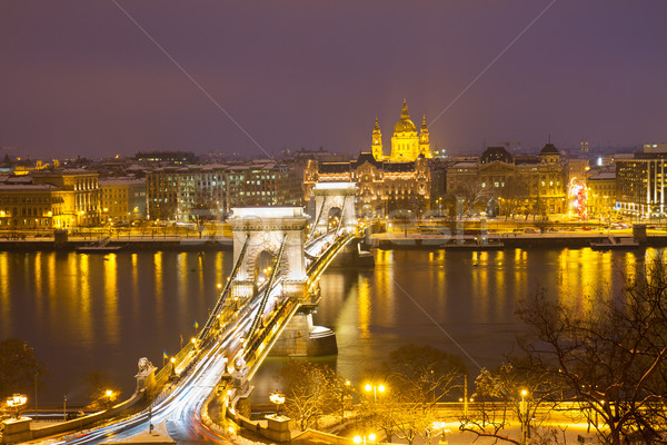 Chain Bridge and skyline of Pest, Budapest Stock photo © neirfy