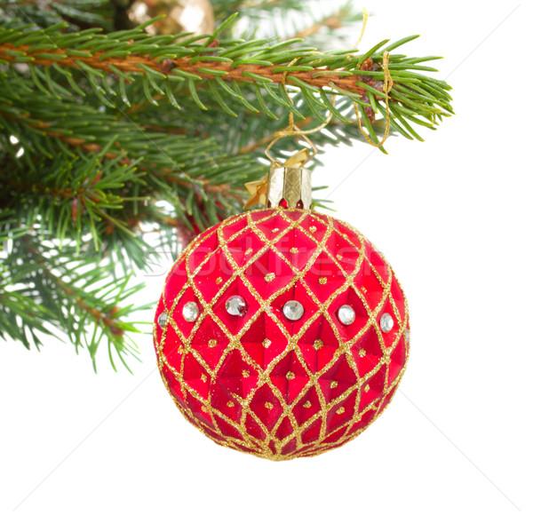 Foto stock: Natal · vermelho · dourado · bola · enforcamento