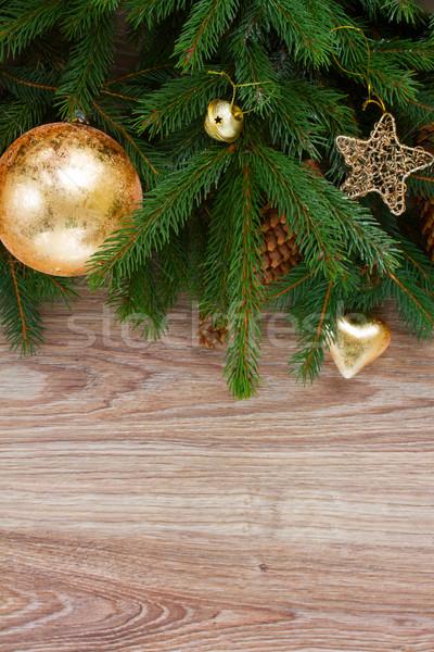 Yaprak dökmeyen ağaç çam Noel altın Stok fotoğraf © neirfy