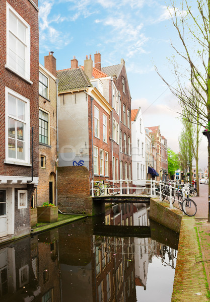 street with canal of Delft, Holland Stock photo © neirfy