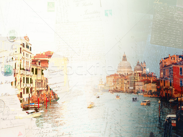 Vintage postcard of Grand canal, Venice, Italy Stock photo © neirfy