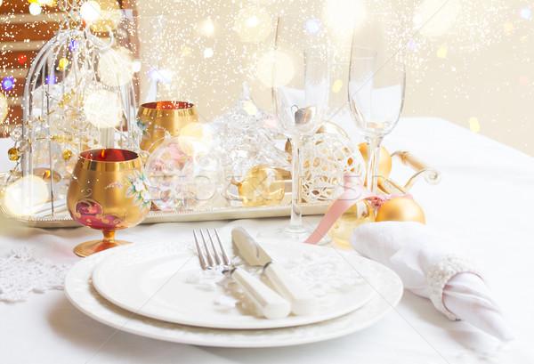 Articoli per la tavola set Natale lastre coppe bianco Foto d'archivio © neirfy