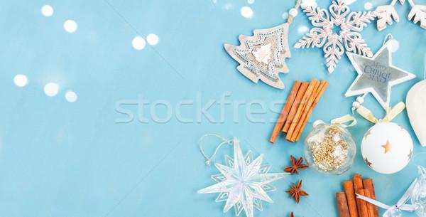 ストックフォト: 青 · 白 · クリスマス · スタイル · コピースペース · 先頭