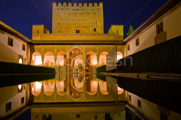 cortyard of Alhambra at night, Granada, Spain Stock photo © neirfy