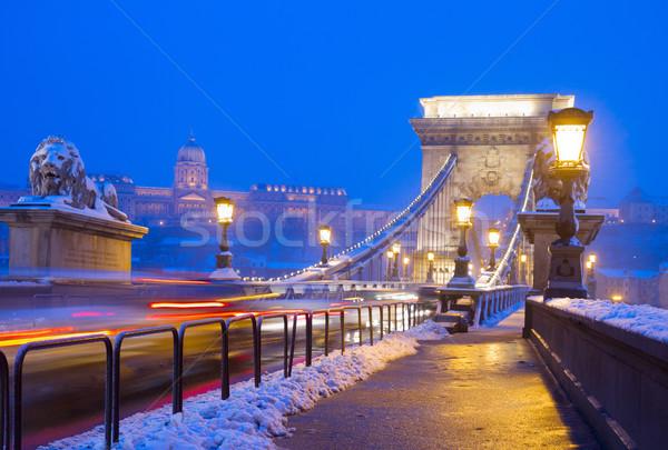 Lánc híd éjszaka Budapest Magyarország víz Stock fotó © neirfy
