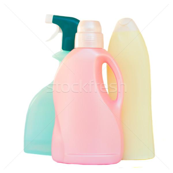 Plástico detergente garrafas branco isolado produtos de limpeza Foto stock © neirfy