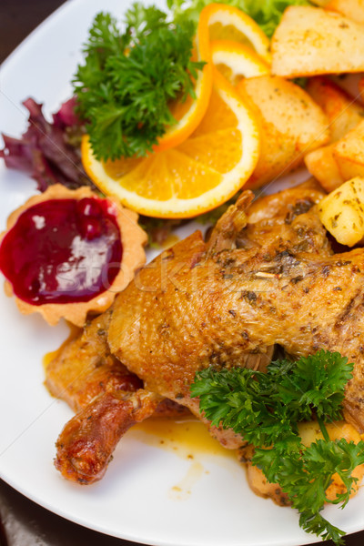 polish national dish - duck with apples and potato Stock photo © neirfy