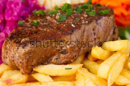Сток-фото: мяса · стейк · картофель · фри · красный · овощей