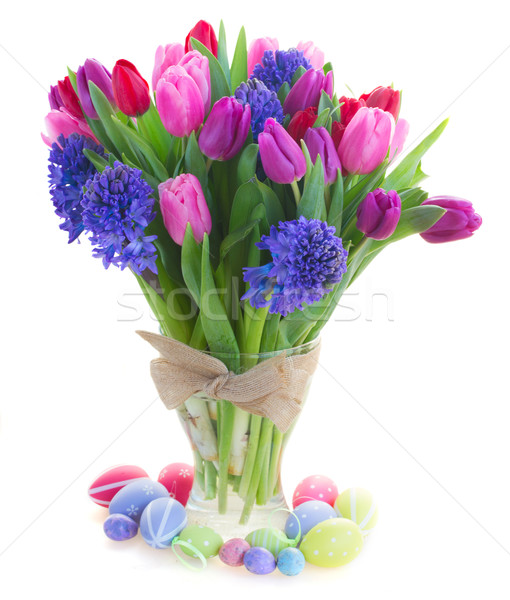 Virágcsokor kék jácint tulipánok köteg piros Stock fotó © neirfy