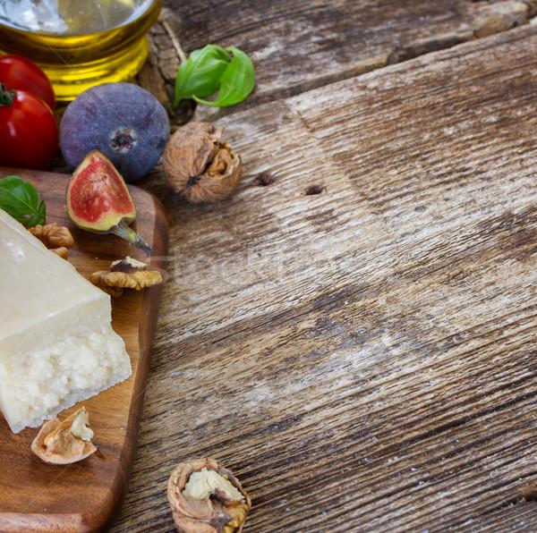 сыр пармезан сыра деревянный стол копия пространства продовольствие синий Сток-фото © neirfy