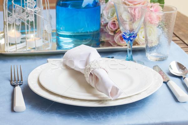 食器 セット 白 プレート 眼鏡 青 ストックフォト © neirfy