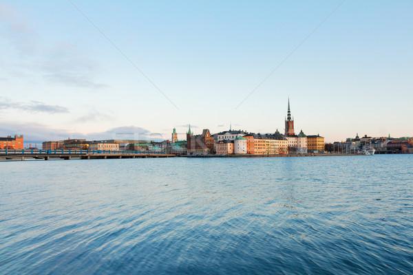 Ufuk çizgisi Stockholm İsveç baltık denizi gün batımı Stok fotoğraf © neirfy