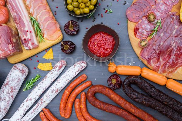 испанский колбаса Тапас салями чоризо Сток-фото © neirfy