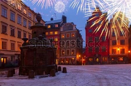 Gece Stockholm kare kış İsveç yol Stok fotoğraf © neirfy