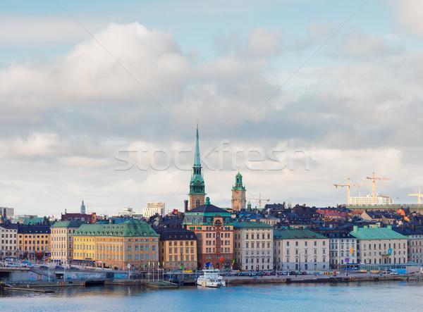 Linha do horizonte Estocolmo Suécia panorama cidade velha céu Foto stock © neirfy