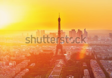 Stok fotoğraf: Eyfel · Kulesi · Paris · Cityscape · görmek · üzerinde · turuncu