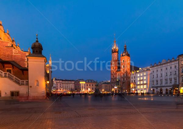 рынке квадратный Краков Польша собора ночь Сток-фото © neirfy