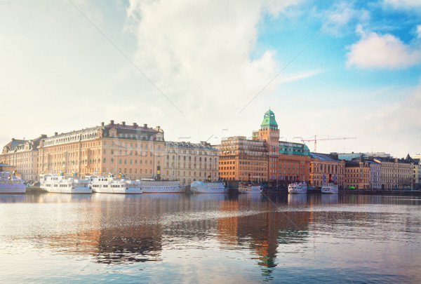 スカイライン ストックホルム スウェーデン 風光明媚な 水辺 パノラマ ストックフォト © neirfy