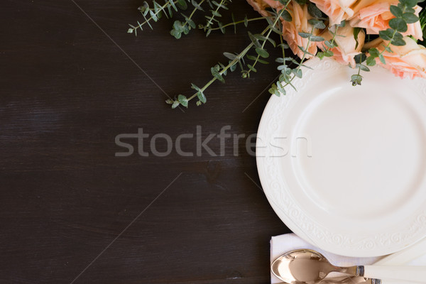 Arts de la table table plaques sombre table en bois Photo stock © neirfy
