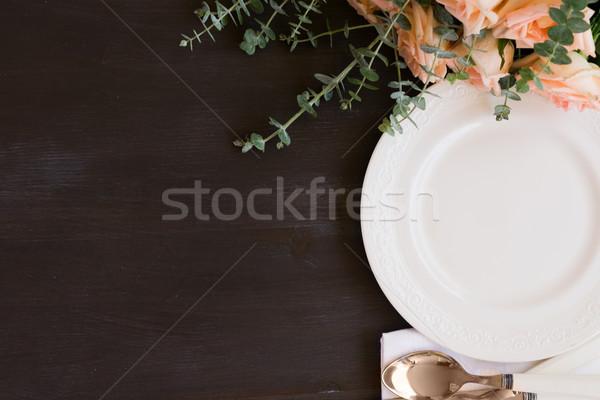 посуда набор таблице пластин темно деревянный стол Сток-фото © neirfy