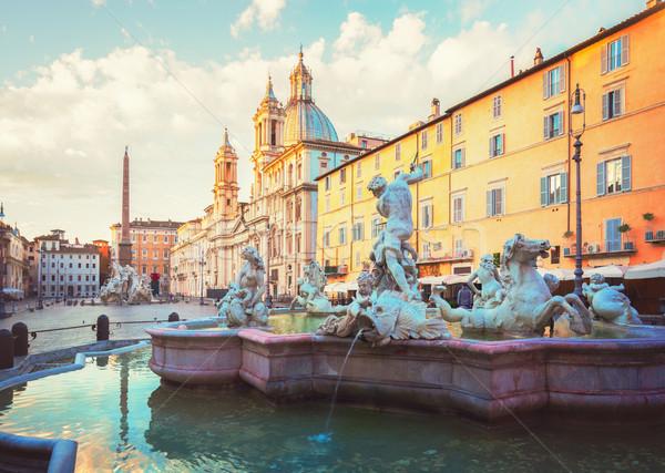 Róma Olaszország panorámakép kilátás szökőkút retro Stock fotó © neirfy