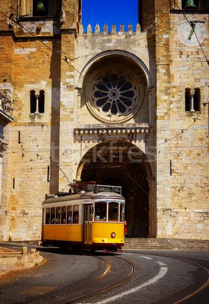 собора Лиссабон Португалия Церкви желтый трамвай Сток-фото © neirfy