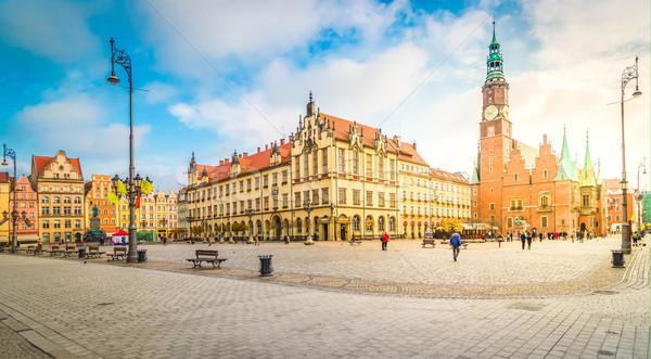 町役場 ポーランド パノラマ 市場 広場 ゴシック ストックフォト © neirfy