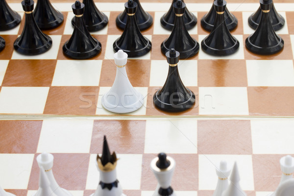 white and black pawn in front of black chess Stock photo © neirfy