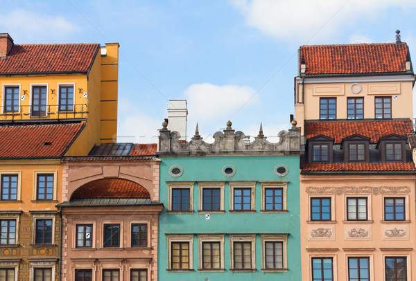 старые домах Варшава квадратный символ Польша Сток-фото © neirfy