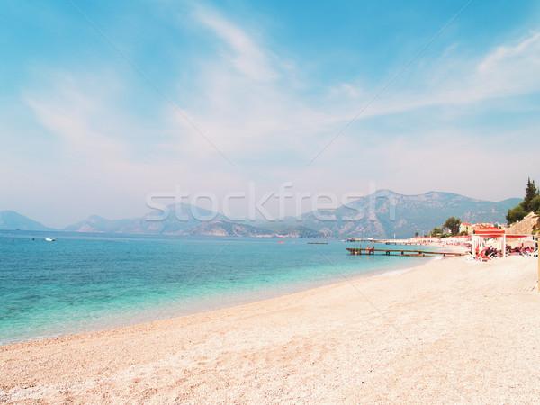 Güzel deniz manzarası akdeniz Türkiye Retro plaj Stok fotoğraf © neirfy